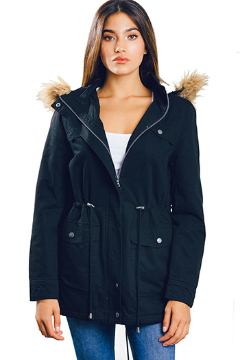 $30 - Cute cheap black zip up stripe banded crop bomber jacket - black drawstring tie waist hooded pocketed puffer anorak coat jacket