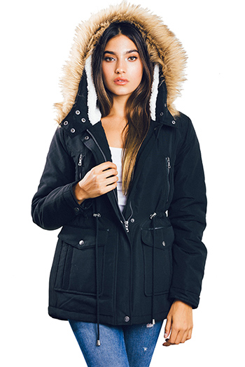 $30 - Cute cheap black zip up stripe banded crop bomber jacket - black drawstring waist zip up pocketed hooded quilted puffer anorak trench coat jacket