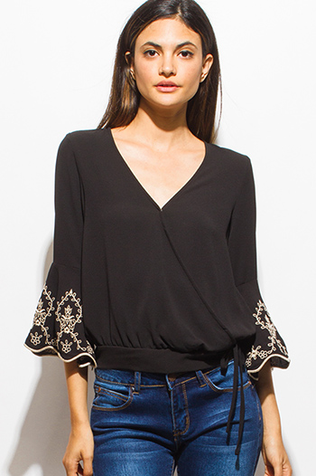 $20 - Cute cheap slit boho crop top - black embroidered scallop mid bell sleeve tie waist crop blouse top