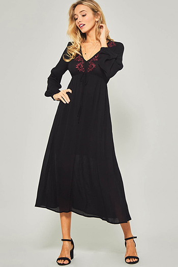 $30 - Cute cheap vegas dress sexy club party clubbing sequined neck bodycon metallic - Black embroidered v neck long sleeve waist tie boho evening maxi dress