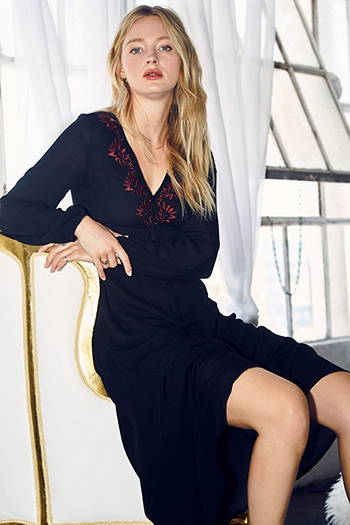 $30 - Cute cheap black bell sleeve dress - Black embroidered v neck long sleeve waist tie boho evening maxi dress