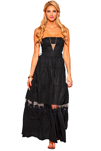$15 - Cute cheap cotton strapless sun dress - black embroidered linen strapless summer maxi sun dress