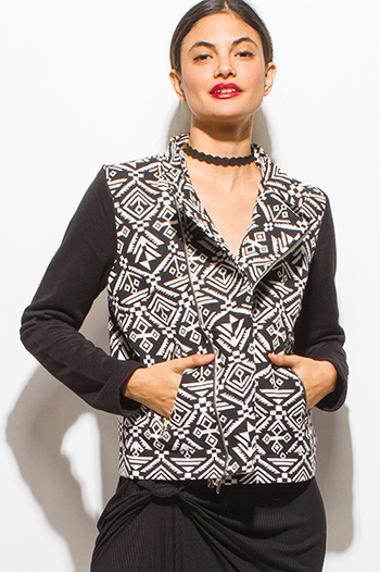 $15 - Cute cheap career wear - black ethnic print embroidered asymmetrical zip up pocketed moto jacket