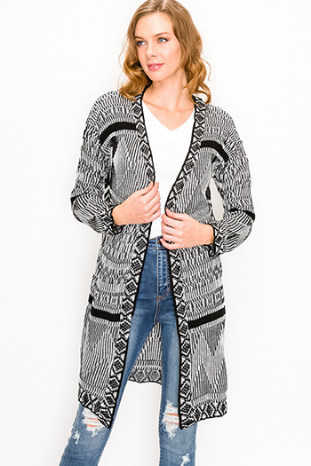 $25 - Cute cheap black ribbed knit long dolman sleeve surplice faux wrap belted sweater mini dress - Black ethnic print long sleeve open front boho duster sweater cardigan