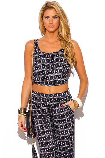 $10 - Cute cheap crepe crop top - black ethnic print boho resort suiting crop top