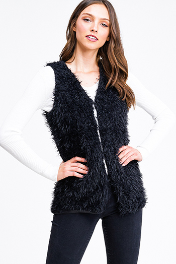$25 - Cute cheap charcoal gray crochet knit fringe hem open front boho sweater cardigan vest top - Black faux fur fleece open front sexy party vest top