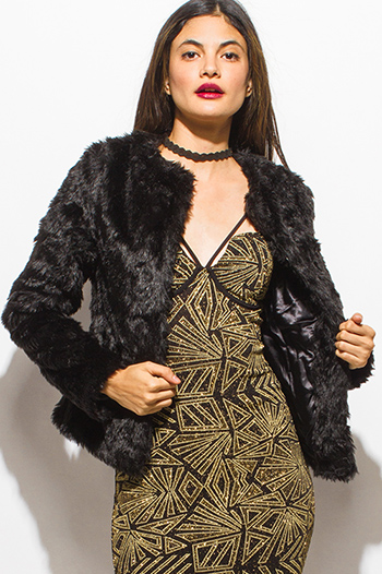 $25 - Cute cheap career wear - black faux fur long sleeve collarless open front sexy party coat jacket