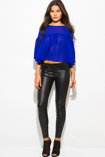 $12 - Cute cheap black long sleeve faux leather patch ribbed slub tee shirt top - black faux leather panel ponte knit mid rise fitted skinny pants
