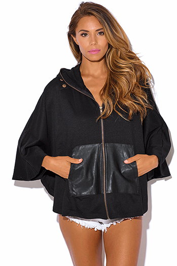 $9 - Cute cheap fall - black faux leather pocket bat wing sleeve hoodie jacket