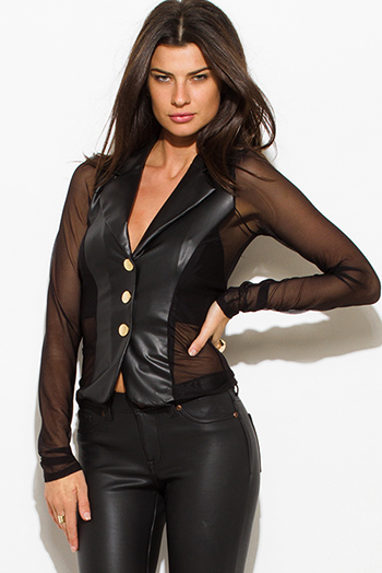 $15 - Cute cheap mesh open back fitted bodycon catsuit - black faux leather sheer mesh contrast golden button long sleeve fitted blazer jacket