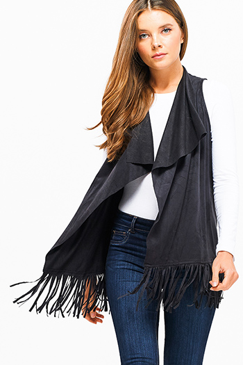 $15 - Cute cheap print cotton boho top - Black faux suede waterfall draped collar open front fringe trim boho vest top