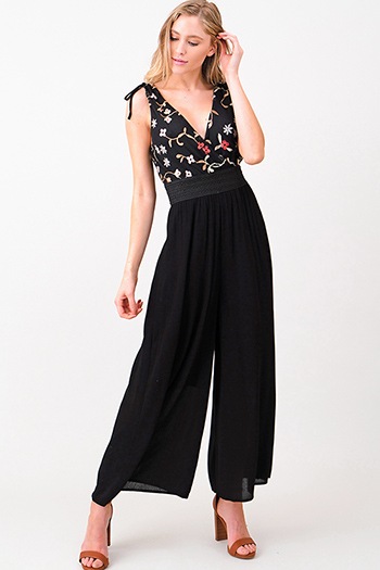 $20 - Cute cheap white high neck fitted sexy party crop top - Black floral embroidered sleeveless surplice v neck wide leg evening party jumpsuit