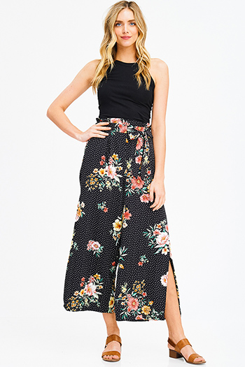 $15 - Cute cheap midnight black and neon green high neck crop top - black floral polka dot print high waisted pocketed side slit boho resort wide leg culotte pants
