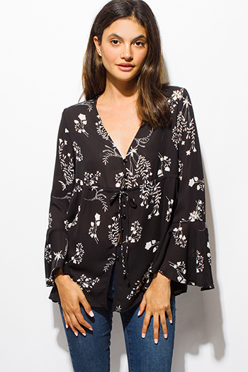 $15 - Cute cheap boho - black floral print bell sleeve button up boho blouse top