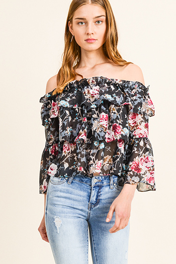 $15 - Cute cheap print boho wrap blouse - Black floral print chiffon tiered off shoulder long bell sleeve boho blouse top