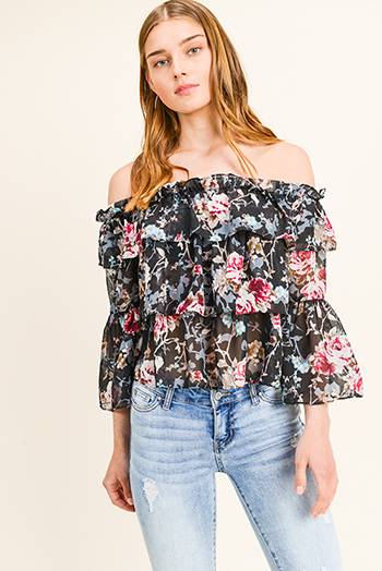 $11 - Cute cheap yellow black floral print sheer mesh off shoulder long trumpet bell sleeve crop top - Black floral print chiffon tiered off shoulder long bell sleeve boho blouse top