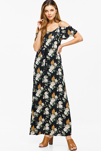 $15 - Cute cheap navy blue floral print ruffle off shoulder boho crop top 1546036175234 - Black floral print cold shoulder flutter sleeve boho sexy party maxi sun dress