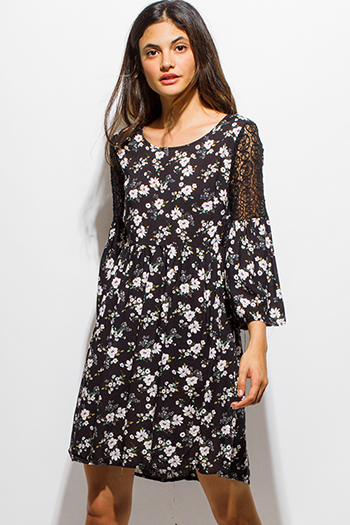 $15 - Cute cheap print high neck dress - black floral print crochet lace bell sleeve a line boho mini dress