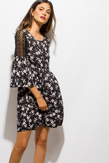 $15 - Cute cheap draped bejeweled dress - black floral print crochet lace bell sleeve a line boho mini dress