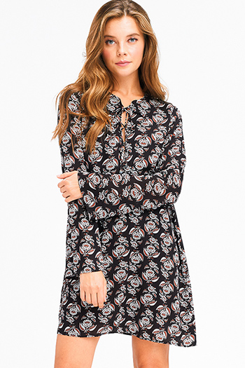 $15 - Cute cheap print cotton boho top - black floral print long bell sleeve cut out laceup front boho peasant shift mini dress