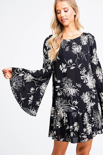 $20 - Cute cheap belted tunic dress - Black floral print long bell sleeve ruffle hem boho sexy party shift mini dress