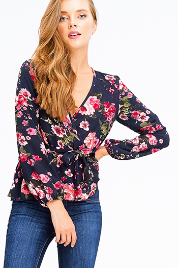 $15 - Cute cheap floral mesh sheer top - dark navy blue floral print long sleeve v neck faux wrap surplice tie waist boho blouse top