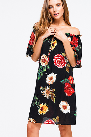 $20 - Cute cheap sheer cocktail dress - Black floral print off shoulder short sleeve keyhole tie front boho mini sun dress