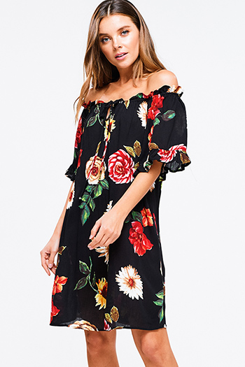 $15 - Cute cheap black bell sleeve dress - Black floral print off shoulder short sleeve keyhole tie front boho mini sun dress