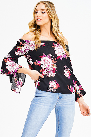 $15 - Cute cheap white low neck short sleeve slub tee shirt top - black floral print off shoulder trumpet bell sleeve boho blouse top