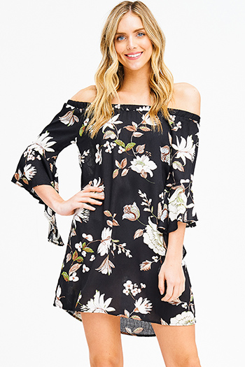 $15 - Cute cheap black caged cut out short sleeve sexy party tee shirt top - black floral print off shoulder waterfall trumpet bell sleeve boho mini dress