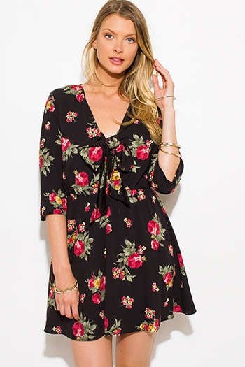 $15 - Cute cheap sheer boho mini dress - black floral print quarter sleeve tie front boho a line skater swing mini dress