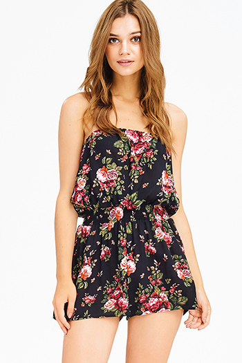 $15 - Cute cheap belted jumpsuit - black floral print rayon gauze strapless boho resort romper playsuit jumpsuit