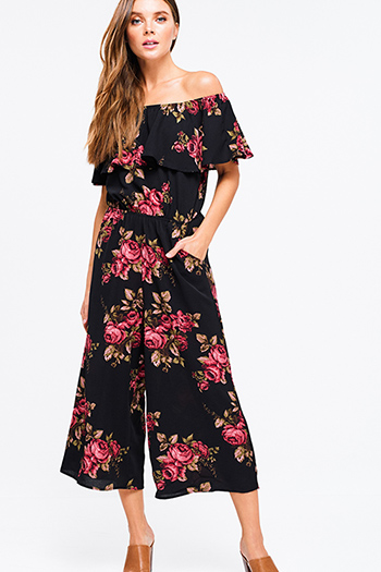 $20 - Cute cheap lace jumpsuit - Black floral print ruffle off shoulder pocketed boho wide leg evening jumpsuit