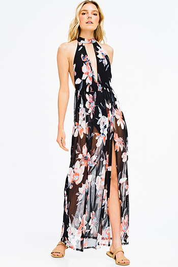 $15 - Cute cheap backless slit maxi dress - black floral print sheer mesh choker mock neck cut out backless slit bodysuit sexy club maxi dress
