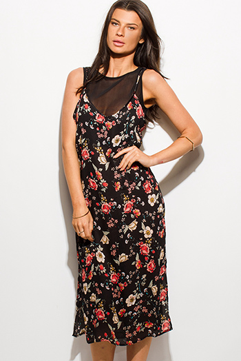$12 - Cute cheap print dress - black floral print sleeveless sheer mesh lined side slit boho midi dress