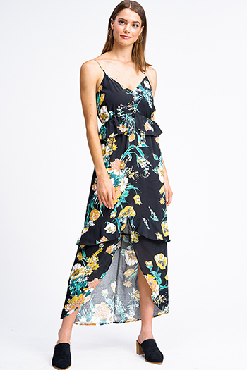 $18 - Cute cheap black bell sleeve dress - Black floral print sleeveless v neck ruffle tiered front slit boho maxi sun dress