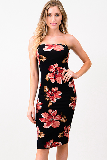 $15 - Cute cheap mauve pink ruffle one shoulder strapless pocketed party sexy club harem jumpsuit - Black floral print strapless tube bodycon club midi dress