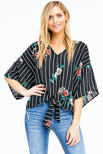 $15 - Cute cheap floral mesh sheer top - black floral print striped tie front short doLman sleeve v neck boho boxy top