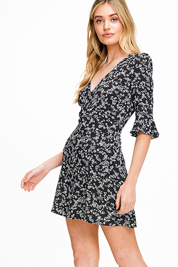 $15 - Cute cheap print sheer sexy party blouse - Black floral print v neck ruffle bell sleeve a line cocktail party mini dress
