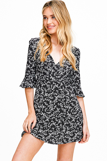$15 - Cute cheap blue chambray dress - Black floral print v neck ruffle bell sleeve a line cocktail sexy party mini dress