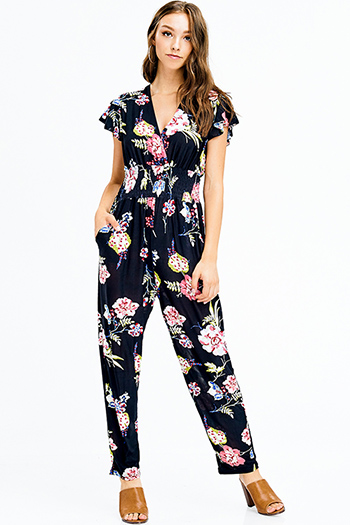 $15 - Cute cheap beige wide leg jumpsuit - black floral print v neck short sleeve smocked waist boho pocketed harem jumpsuit