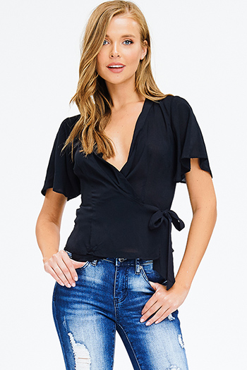 $15 - Cute cheap white chiffon blouse - black flutter short sleeve v neck wrap tie front boho blouse top