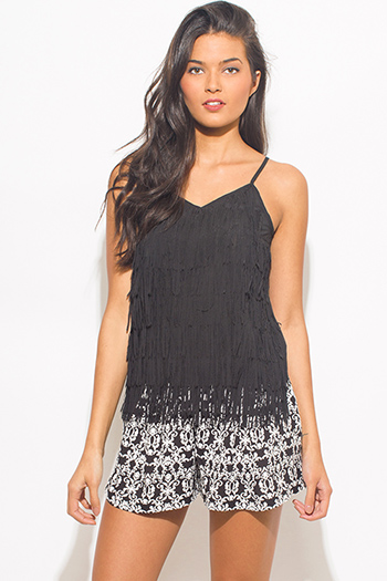 $10 - Cute cheap light gray cut out caged fringe trim spaghetti strap boho swing tank top - black fringed v neck spaghetti strap sexy party tank top