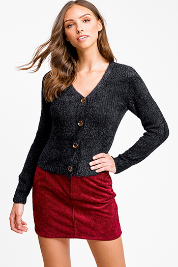 $25 - Cute cheap red long sleeve tunic - Black fuzzy knit long sleeve cropped button up boho sweater top