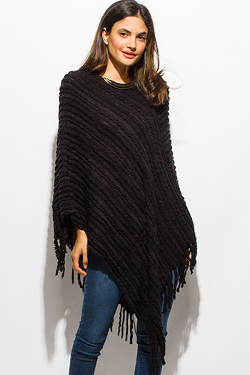 $10 - Cute cheap asymmetrical fitted top - black fuzzy knit striped asymmetrical hem boho sweater knit poncho top