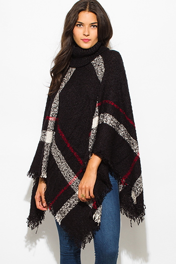 $25 - Cute cheap mocha taupe brown sweater knit fringe trim faux fur lined hooded boho poncho top - black giant checker plaid fuzzy boho knit poncho sweater jacket tunic top
