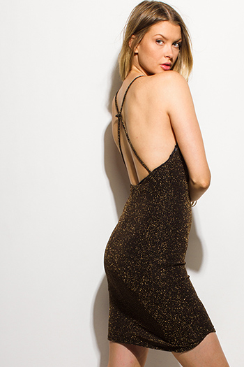 $15 - Cute cheap black crepe dress - black gold metallic lurex halter criss cross backless bodycon fitted sexy club mini dress