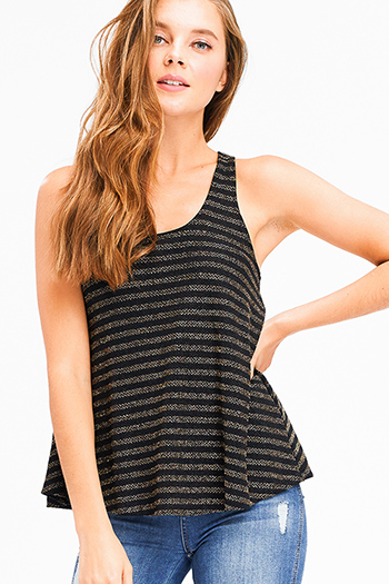 $15 - Cute cheap ivory navy polka dot print ruffle keyhole tie front boho tank blouse top - Black gold striped metallic lurex scoop neck racer back boho tank top