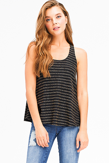 $10 - Cute cheap white jersey knit sleeveless fringe asymmetrical hem boho tank top - Black gold striped metallic lurex scoop neck racer back boho tank top