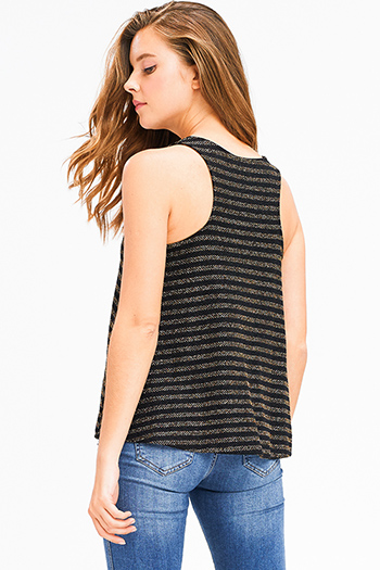 $15 - Cute cheap black embroidered laceup caged back boho peasant tank top - Black gold striped metallic lurex scoop neck racer back boho tank top